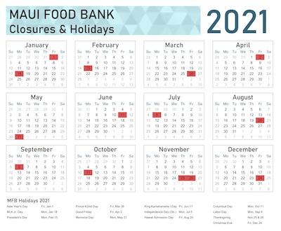 2021 MFB Holiday Calendar